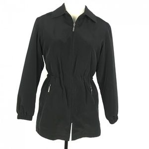 Gallery Women Black Full Zip Jacket Petite Size S